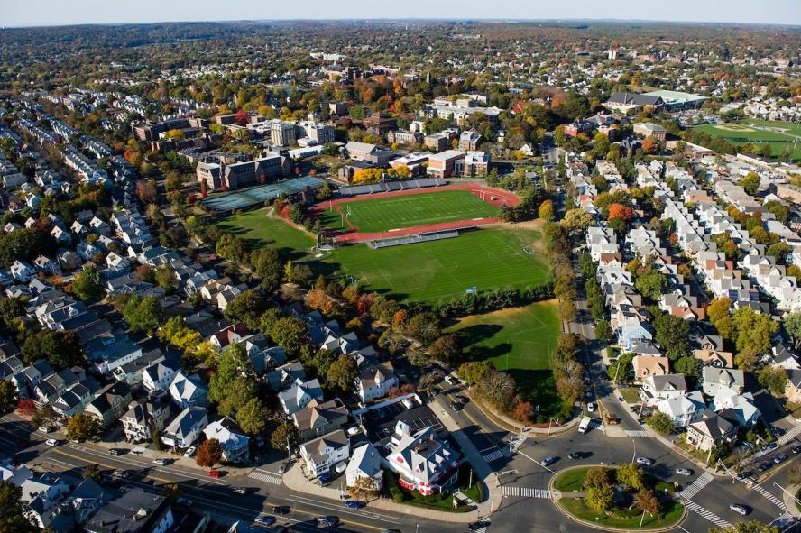 The Medford/Somerville campus from above