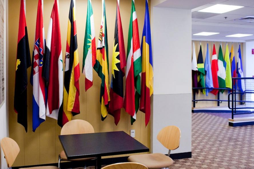 Flags in the hall of flags