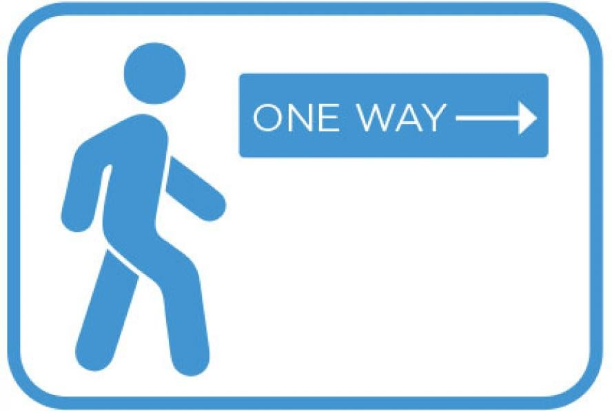 "Icon of a person walking next to a ""one way"" sign"