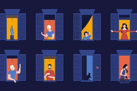 Illustration of people in window frames. A New York City EMT, a minister, and a biologist describe how the crisis has transformed their work and volunteer commitments